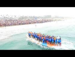 World's Largest Surfboard Makes Waves in Huntington Beach